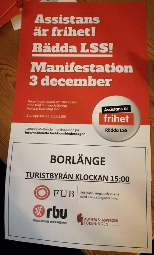 Manifestation 3 december i Borlänge!
